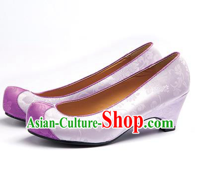 Traditional Korean National Wedding Lilac Embroidered Shoes, Asian Korean Hanbok Bride Embroidery Satin High-heeled Shoes for Women