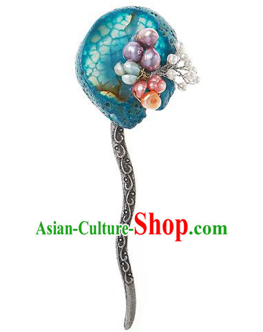 Korean National Wedding Hair Accessories Bride Blue Hair Clip, Korean Hanbok Fashion Palace Hairpins for Women