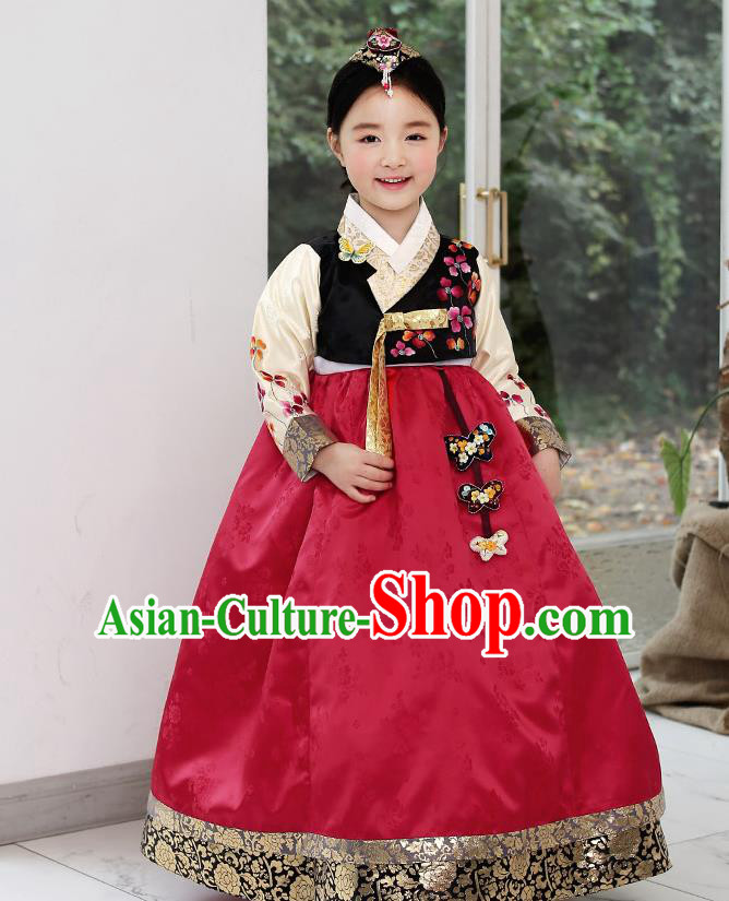 Asian Korean National Handmade Formal Occasions Wedding Clothing Black Blouse and Red Dress Palace Hanbok Costume for Kids