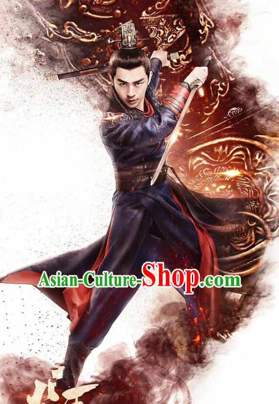 Traditional Chinese Southern and Northern Dynasties Swordsman Costume Complete Set for Men