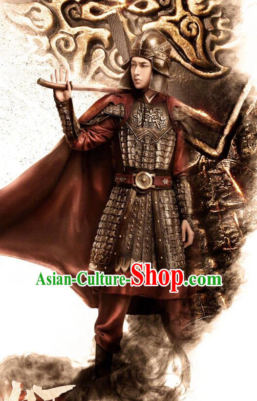 Traditional Chinese Southern and Northern Dynasties General Helmet and Armour Ancient Costume for Men
