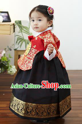 Asian Korean National Handmade Formal Occasions Clothing Embroidered Red Blouse and Black Dress Palace Hanbok Costume for Kids
