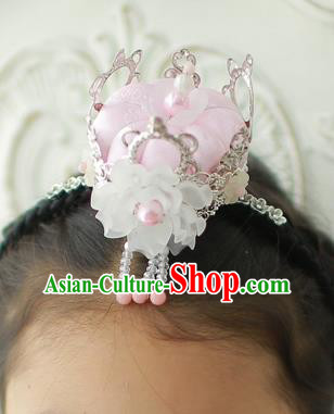 Korean National Hair Accessories Pink Crown Hair Clasp, Asian Korean Hanbok Fashion Bride Headwear for Kids