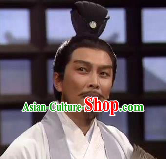 Chinese Ancient Opera Han Dynasty Chancellor Wig, Traditional Chinese Beijing Opera Old Men Zhuge Liang Wig Sheath for Men