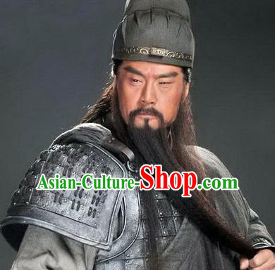 Chinese Ancient Opera Three Kingdoms Period Guan Yu Long Whiskers Mustache, Traditional Chinese Beijing Opera Old Men Full Beard for Men