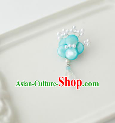 Korean National Accessories Girls Blue Begonia Flower Brooch, Asian Korean Hanbok Fashion Bride Breastpin for Kids