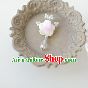 Korean National Accessories Girls White Begonia Flower Brooch, Asian Korean Hanbok Fashion Bride Breastpin for Kids