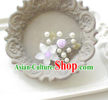 Korean National Accessories Girls Purple Bead Flower Brooch, Asian Korean Hanbok Fashion Bride Breastpin for Kids