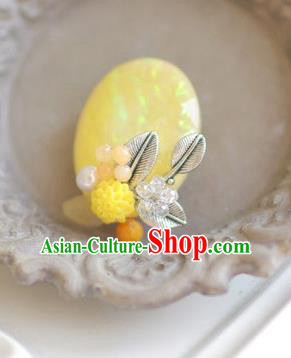 Korean National Accessories Girls Yellow Brooch, Asian Korean Hanbok Fashion Bride Breastpin for Kids