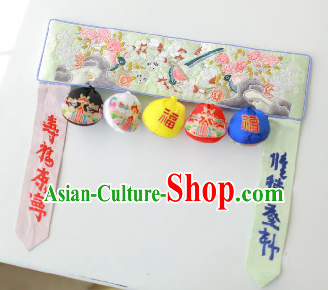 Traditional Korean Accessories Embroidered Birds Flowers Green Waist Belts, Asian Korean Fashion Waistband Decorations for Kids