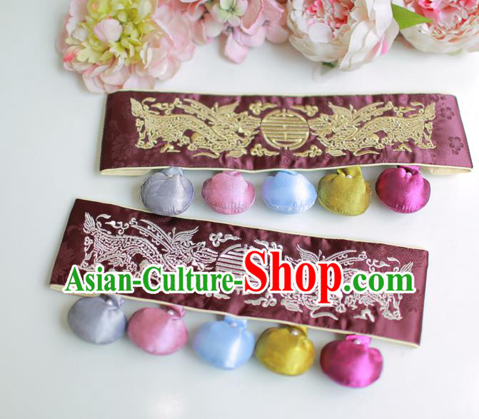 Traditional Korean Accessories Embroidered Dragon Waist Belts, Asian Korean Fashion Waistband Decorations for Kids