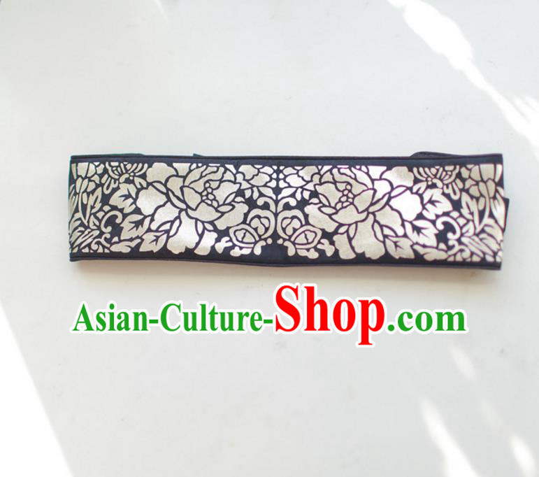 Traditional Korean Accessories Embroidered Black Waist Belts, Asian Korean Fashion Waistband Decorations for Kids