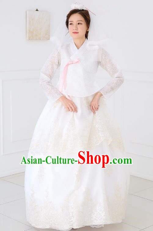 Top Grade Korean National Handmade Wedding Clothing Palace Bride Hanbok Costume Embroidered White Lace Blouse and Dress for Women