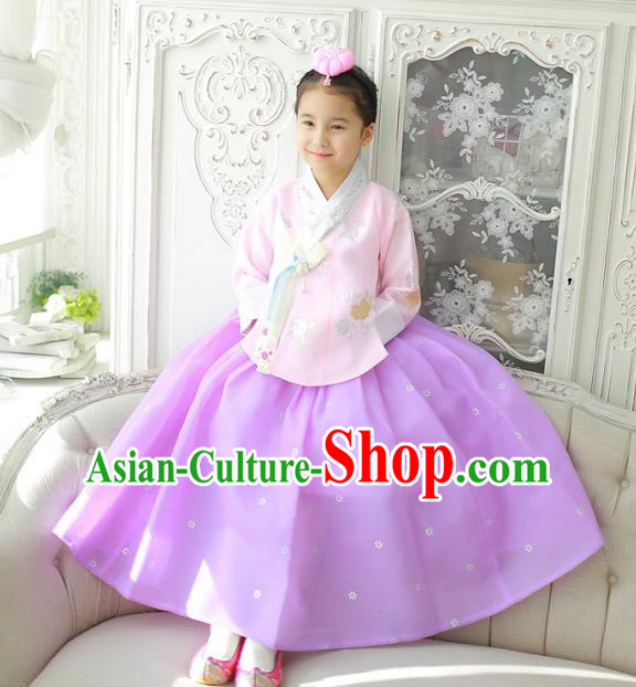 Korean National Handmade Formal Occasions Girls Clothing Palace Hanbok Costume Embroidered Pink Blouse and Purple Dress for Kids