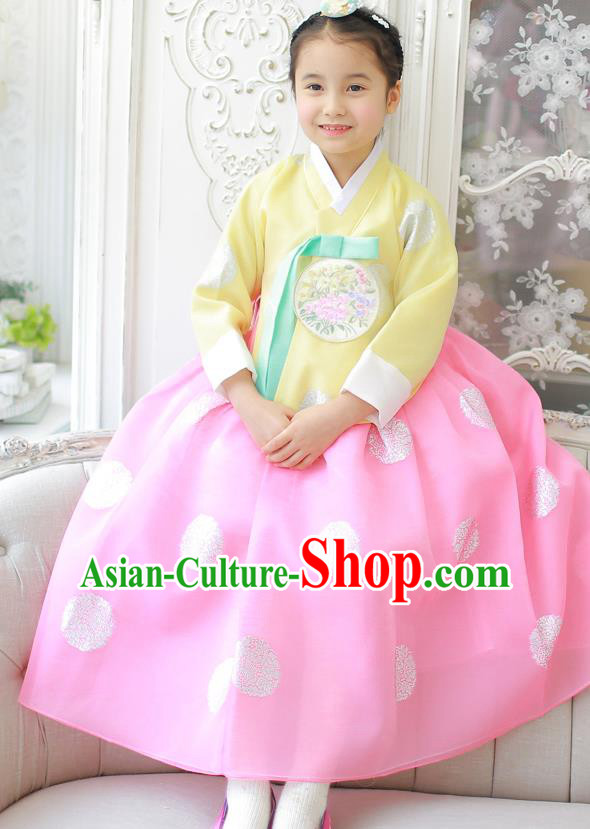 Korean National Handmade Formal Occasions Girls Clothing Palace Hanbok Costume Embroidered Yellow Blouse and Pink Dress for Kids