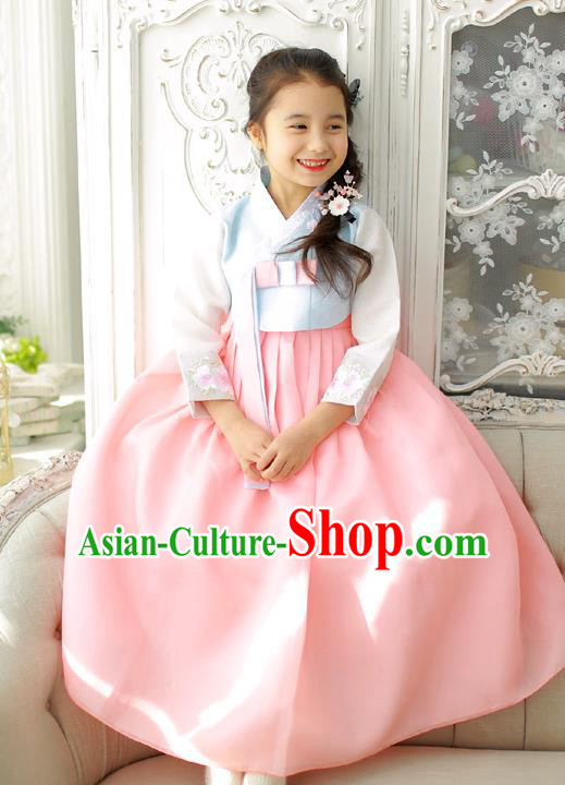 Korean National Handmade Formal Occasions Girls Clothing Palace Hanbok Costume Embroidered Blue Blouse and Pink Dress for Kids