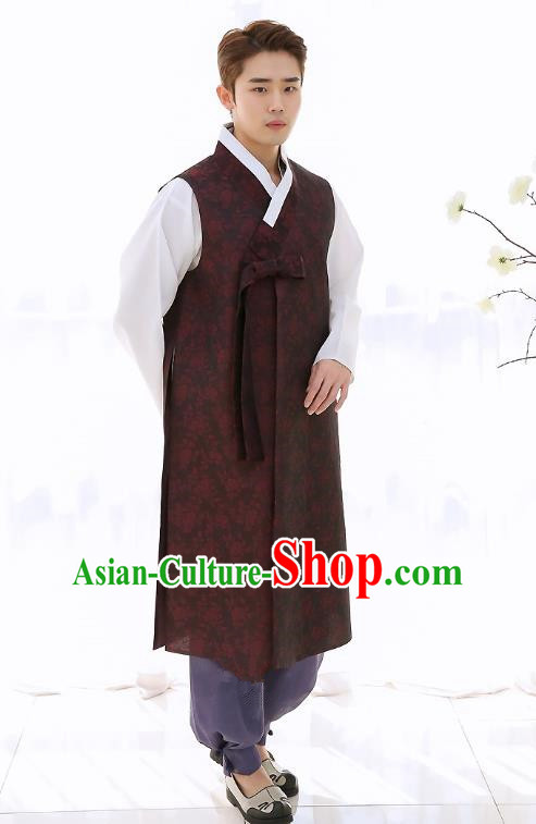 Asian Korean National Traditional Formal Occasions Wedding Bridegroom Embroidery Dark Red Long Vest Palace Hanbok Costume Complete Set for Men