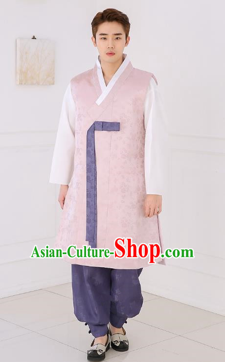 Asian Korean National Traditional Formal Occasions Wedding Bridegroom Embroidery Pink Long Vest Palace Hanbok Costume Complete Set for Men