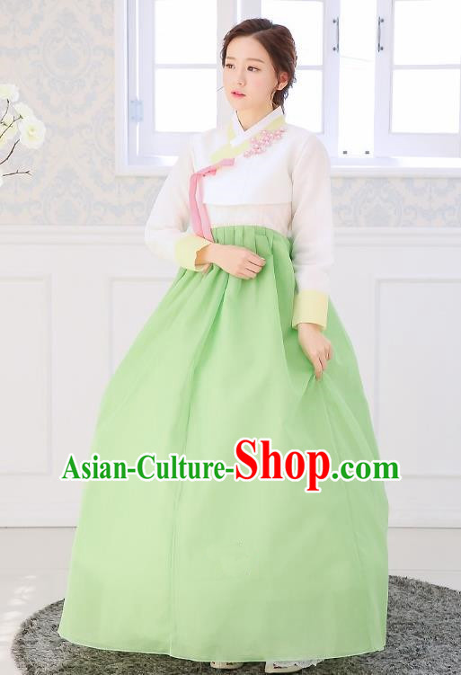 Top Grade Korean National Handmade Wedding Clothing Palace Bride Hanbok Costume Embroidered White Blouse and Green Dress for Women