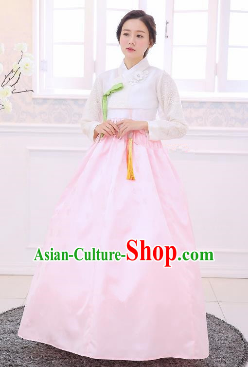 Top Grade Korean National Handmade Wedding Clothing Palace Bride Hanbok Costume Embroidered White Blouse and Pink Dress for Women