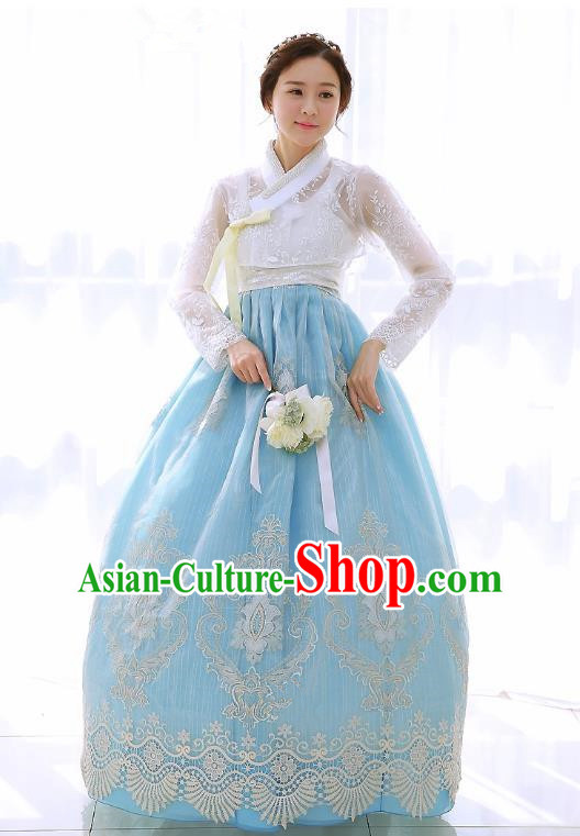 Top Grade Korean National Handmade Wedding Clothing Palace Bride Hanbok Costume Embroidered White Lace Blouse and Blue Dress for Women
