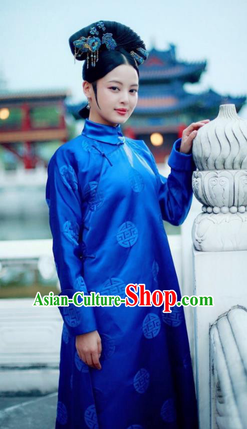 Traditional Chinese Qing Dynasty Palace Lady Costume, Chinese Ancient Manchu Senior Concubine Embroidered Clothing for Women
