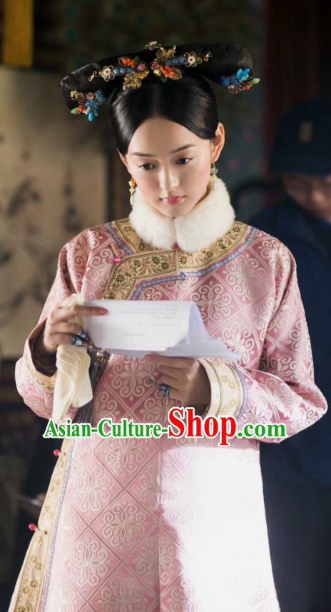 Traditional Chinese Qing Dynasty Imperial Princess Costume, Chinese Ancient Manchu Palace Lady Embroidered Clothing for Women