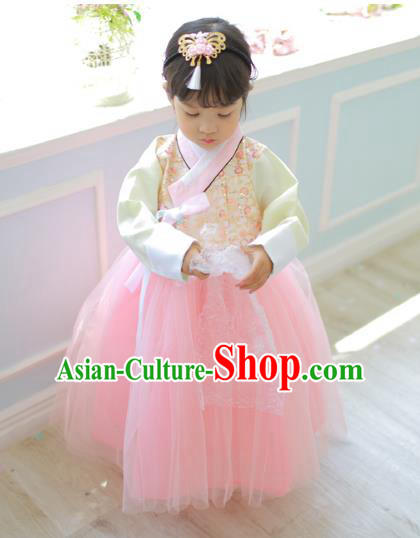 Traditional Korean National Handmade Formal Occasions Girls Palace Hanbok Costume Embroidered Beige Blouse and Pink Dress for Kids
