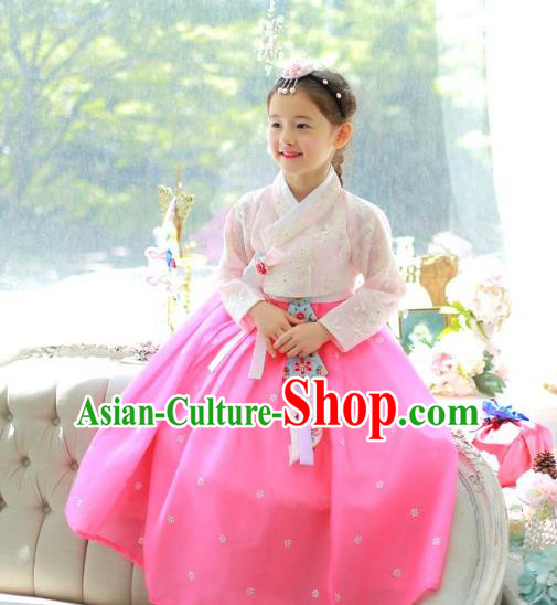 Traditional Korean National Handmade Formal Occasions Girls Palace Hanbok Costume Embroidered Pink Lace Blouse and Dress for Kids