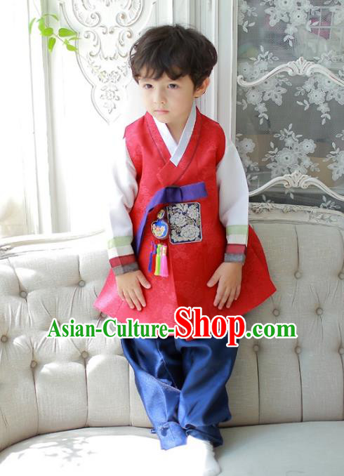 Asian Korean National Traditional Handmade Formal Occasions Boys Embroidered Red Vest Hanbok Costume Complete Set for Kids