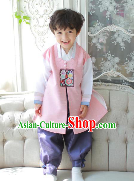 Asian Korean National Traditional Handmade Formal Occasions Boys Embroidered Pink Vest Hanbok Costume Complete Set for Kids