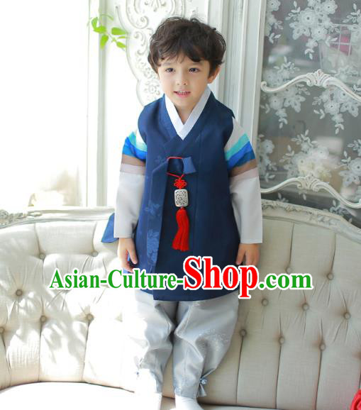 Asian Korean National Traditional Handmade Formal Occasions Boys Embroidered Deep Blue Vest Hanbok Costume Complete Set for Kids