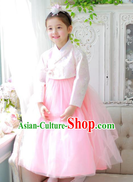 Traditional Korean National Handmade Formal Occasions Girls Palace Hanbok Costume Embroidered Pink Blouse and Dress for Kids