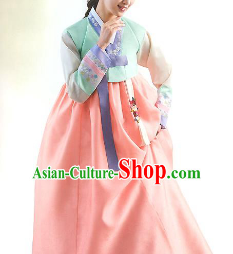 Top Grade Korean National Handmade Wedding Palace Bride Hanbok Costume Embroidered Green Blouse and Orange Dress for Women