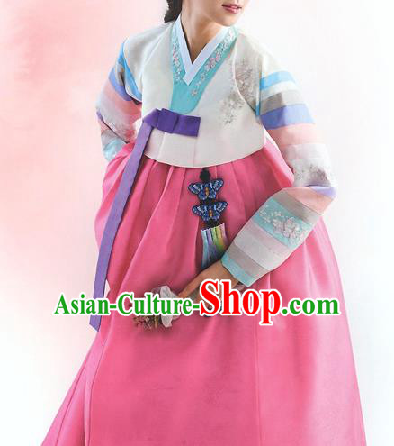Top Grade Korean National Handmade Wedding Palace Bride Hanbok Costume Embroidered White Blouse and Pink Dress for Women