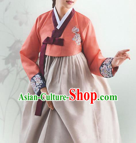 Top Grade Korean National Handmade Wedding Palace Bride Hanbok Costume Embroidered Orange Blouse and Grey Dress for Women