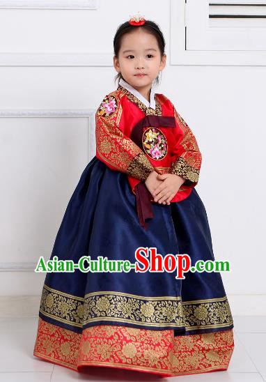 Top Grade Korean National Handmade Wedding Palace Girls Hanbok Costume Embroidered Red Blouse and Navy Dress for Kids