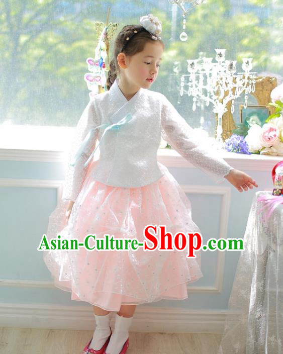 Traditional Korean National Handmade Formal Occasions Girls Palace Hanbok Costume Embroidered White Lace Blouse and Orange Dress for Kids