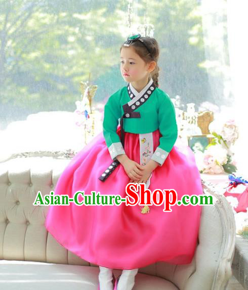 Traditional Korean National Handmade Formal Occasions Girls Palace Hanbok Costume Embroidered Green Blouse and Rosy Dress for Kids