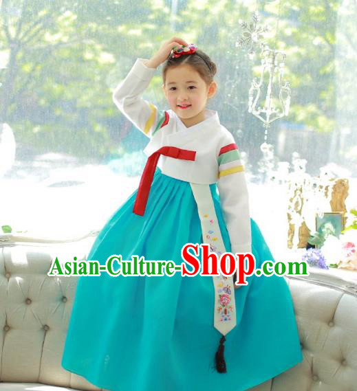 Traditional Korean National Handmade Formal Occasions Girls Palace Hanbok Costume Embroidered White Blouse and Green Dress for Kids