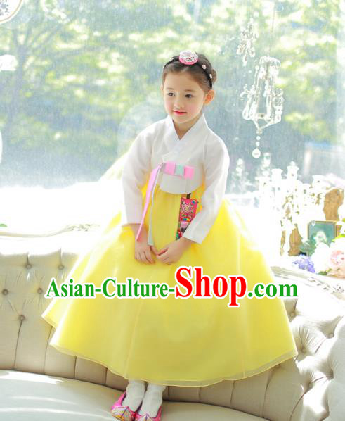 Traditional Korean National Handmade Formal Occasions Girls Palace Hanbok Costume Embroidered White Blouse and Yellow Dress for Kids