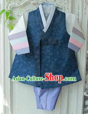 Asian Korean National Traditional Handmade Formal Occasions Boys Embroidery Clothing Navy Vest Hanbok Costume Complete Set for Kids
