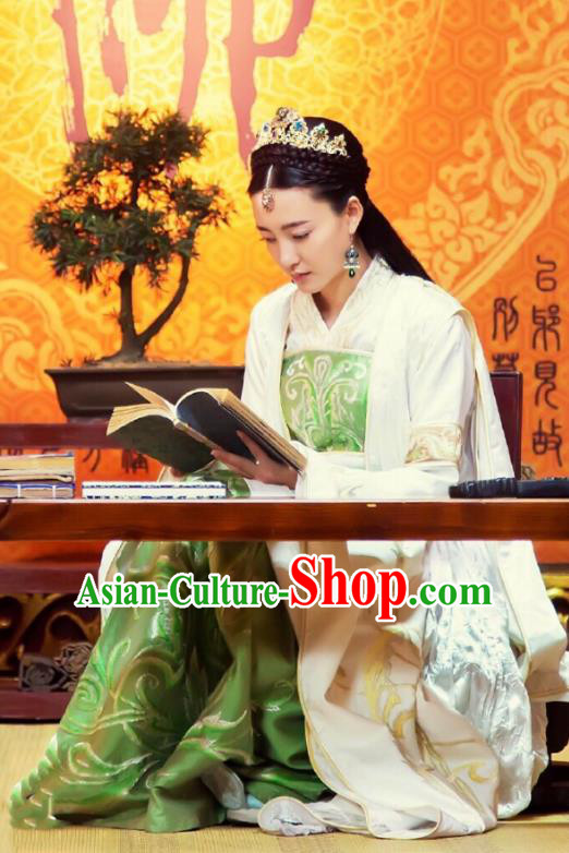 Traditional Chinese Southern and Northern Dynasties Empress Costume, Chinese Ancient Princess Embroidered Clothing for Women