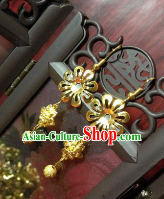 Traditional Handmade Chinese Ancient Classical Accessories Bride Wedding Xiuhe Suit Golden Flower Tassel Earrings for Women