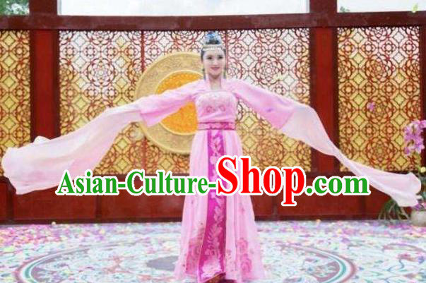 Traditional Chinese Southern and Northern Dynasties Palace Lady Dance Costume, Chinese Ancient Princess Embroidered Water Sleeve Clothing for Women