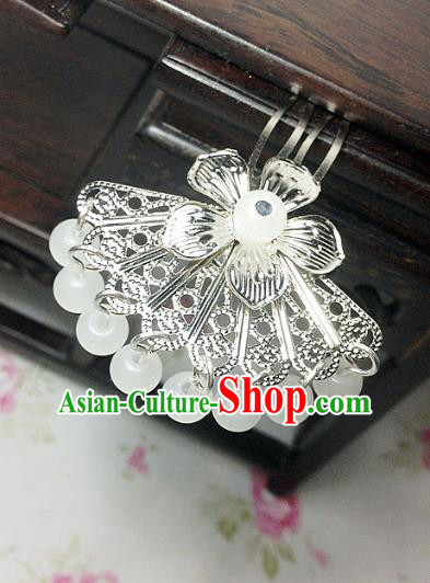 Traditional Chinese Ancient Classical Hair Accessories Hanfu White Beads Tassel Hair Clip Bride Hairpins for Women