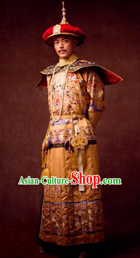 Traditional Ancient Chinese Qing Dynasty Manchu Imperial Emperor Embroidered Dragon Robe Costume and Headpiece Complete Set