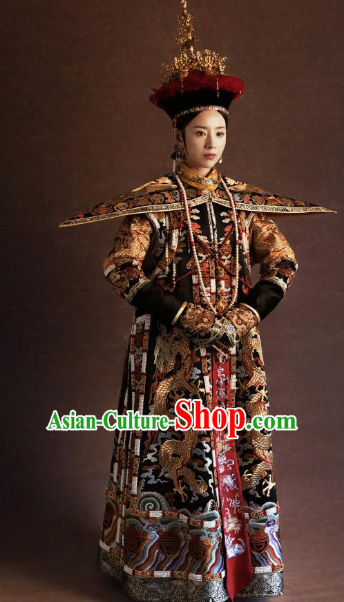 Traditional Ancient Chinese Qing Dynasty Manchu Lady Imperial Empress Embroidered Costume and Headpiece Complete Set