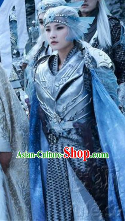Ice Fantasy Warriors Hanfu Style Armor Costumes Complete Set for Men or Women
