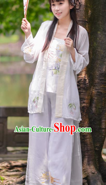 Asian China Song Dynasty Young Lady Costume Blouse and Pants, Traditional Ancient Chinese Princess Hanfu Embroidered Clothing for Women